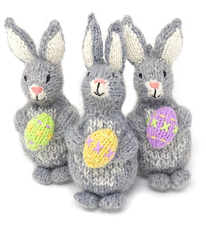 Bunny with Easter Egg Ornaments - Set of 6