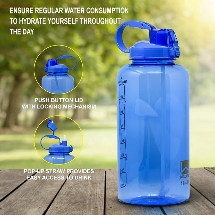 Wellness 1 Gallon Large Sports Water Bottle with Straw