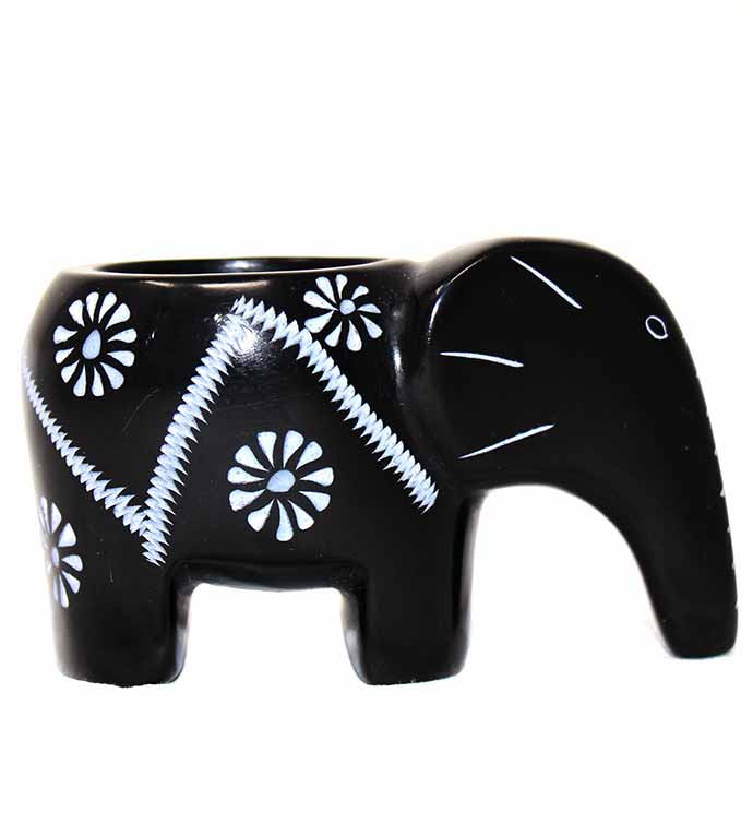 Hand-carved Elephant Soapstone Tea Light