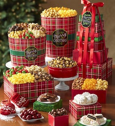 Merry Christmas Plaid 8-Tier Tower & Popcorn Tins