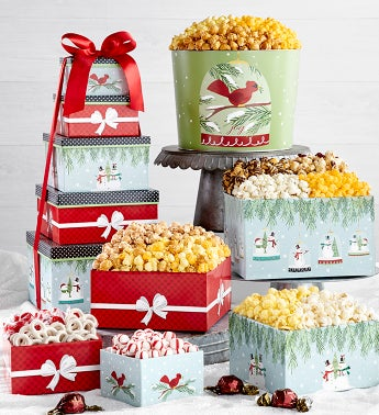 Magical Holiday 5-Tier Gift Tower and Popcorn Tin