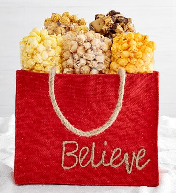 Holiday Burlap Bags - Believe