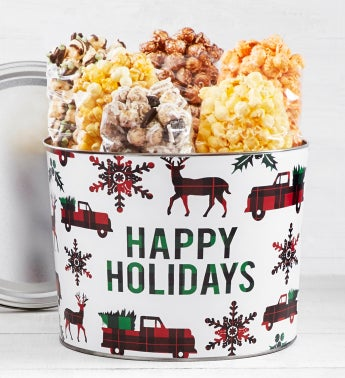2 Gallon Very Merry Plaid Happy Holidays Tin Sampler